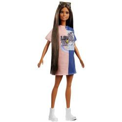Mattel Barbie Fashionistas Puppe im Grafik Stil Kleid (FXL43)