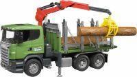 bruder SCANIA R-Serie Holztransport-LKW mit Ladekran, Greifer und 3 Baumstämmen, Modellfahrzeug (03524)