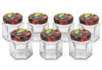 Schraubdeckelglas 6-eckig 47 ml mit 43mm TO-Deckel Obstdekor 7er Tray (59437)