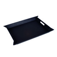 FREEFORM Vintage - Tablett mit Echtleder-Effekt, groß, schwarz, Kunstleder, Maße: 55 x 41 cm (FFTM19