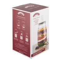 KILNER Fermentier Set, 3 Liter Einmachglas mit Gärverschluss und Rezeptbuch, Glas/Silikon, Maße: 17