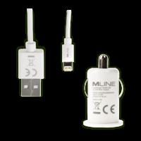 Mline KFZ-Lader Single USB 1A und Lightning Datenkabel