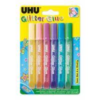 GLITTER GLUE SHINY COLOURS 6 X 10ML