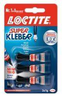 Loctite, Superkleber flüssig Mini Trio 3x1g, transparent, 3x1g