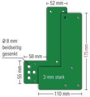 GFS Montageplatte 901 - / 991 470 Montage an Glastüren Schwenk-Türwächter DINlinks / rechts L175xB1