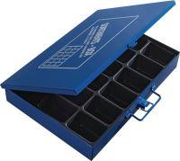 Sortimentskasten B330xT240xH50mm 18 Fächer ohne Beschriftungsschild blau
