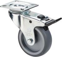 Lenkrolle mit Totalfeststeller Rad-D. 75 mm Tragfähigkeit 60 kg mit Anschraubplatte Gleitlager Gumm