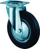Lenkrolle Rad-D. 200 mm Tragfähigkeit 205 kg Vollgummi Platte L135xB110 mm
