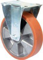 Bockrolle 200 mm 600 kg Guß-Polyurethanbandage 138 x 110 mm Aluminium