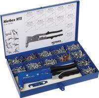 GESIPA Blindnietsortiment Nietbox 942-teilig NTX u.Blindniete Alu/Stahl, Kupfer/Stahl i.Blechkoffer