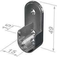 PG Schrankrohrlager 11127 Zinkdruckguss verchromt Wandmontage 35x20 mm