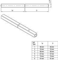 Panik-Stift OGRO 120 FS SECURE Vierkant 9 mm TS 51-57 mm geteilter Vollstift