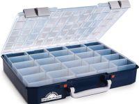 RAACO Sortimentskasten CarryLite 80 5x10-25 B413xT330xH79mm 25 Fächer transparent blau