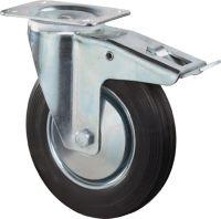 Lenkrolle Rad-D. 80 mm Tragfähigkeit 50 kg mit Totalfeststeller Gummi Platte L104xB80mm