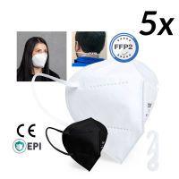 FFP2 Maske Mundmaske Mundschutz 5 Stk weiß mit Nackenspange