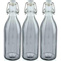 Leifheit 3er Set Flasche facette 0,5 L smokey grey Saftflasche Einkochflasche Einkochhilfe