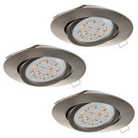 EGLO SET 3XEINBAUSPOT GU10-LED 5W 3000K NICKE (31689)
