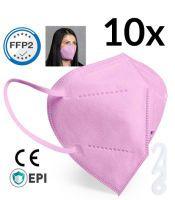 Bunte FFP2 Maske rosa einzelverpackt 10 Stück Mundschutzmasken & Nasenschutzmasken