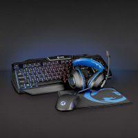 Nedis Gaming Combo Kit / 4-in-1 / Tastatur, Headset, Maus und Mauspad / Blau / Schwarz / QWERTY / US-Layout