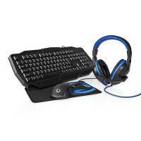 Nedis Gaming Combo Kit / 4-in-1 / Tastatur, Headset, Maus und Mauspad / Blau / Schwarz / QWERTY / ES-Layout