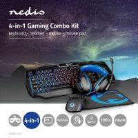 Nedis Gaming Combo Kit / 4-in-1 / Tastatur, Headset, Maus und Mauspad / Blau / Schwarz / AZERTY / FR-Layout