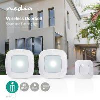 Nedis Drahtlose Türklingel Set / Netzstromversorgung / 80 dB / Signalreichweite: 300 m / IP44 / Verstellbares Volumen / 36 Melodien / 2 Empfänger / Weiss