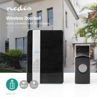 Nedis Drahtlose Türklingel Set / Netzstromversorgung / 80 dB / Signalreichweite: 300 m / IP44 / Verstellbares Volumen / 36 Melodien / 1 Empfänger / Schwarz