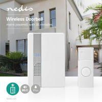 Nedis Drahtlose Türklingel Set / Netzstromversorgung / 80 dB / Signalreichweite: 300 m / IP44 / Verstellbares Volumen / 36 Melodien / 1 Empfänger / Weiss
