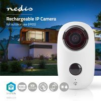 Nedis Smartlife Außenkamera / WLAN / Full HD 1080p / IP65 / Maximale Batterie-Lebensdauer: 10 min / Cloud / MicroSD / 5 VDC / mit Bewegungssensor / Nachtsicht / Android™ & iOS / Weiss
