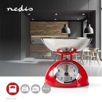 Nedis Küchenwaagen / Analog / Edelstahl / Abnehmbare Schale / Red