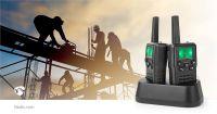 Nedis Walkie-Talkie-Set / 2 Hörer / Bis zu 10 km / Frequenzkanäle: 8 / PTT / VOX / Bis zu 6 Hours / Ladestation enthalten / Kopfhörerausgang / Schwarz