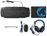 Nedis Gaming Combo Kit / 4-in-1 / Tastatur, Headset, Maus und Mauspad / Blau / Schwarz / QWERTZ / DE-Layout