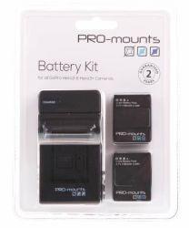 PRO-mounts Akku Kit + Ladegerät 1180 mAh für GoPro 4