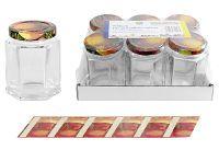 DOSEN-ZENTRALE Schraubdeckelglas 6-eckig 191 ml 7er Tray mit 58mm TO-Deckel Obstdekor (00001855)