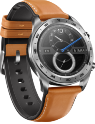 Honor Watch - Moonlight Silver/ Brown Leather & Silicone Strap