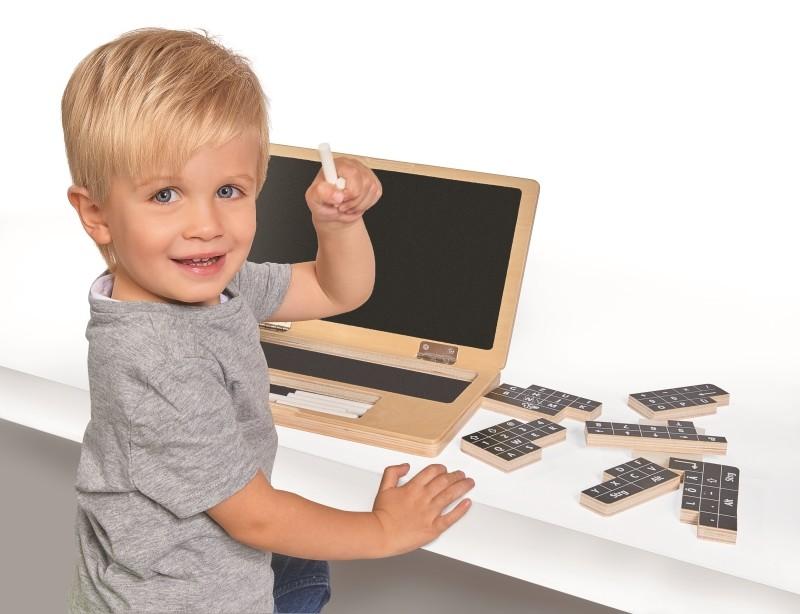 Holzspielzeug Simba 100002575 EH Holzlaptop mit Puzzle